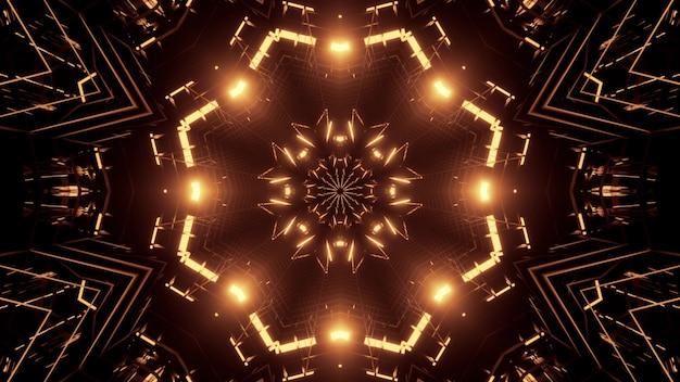 Иллюстрация абстрактного орнамента, мерцающего золотыми неоновыми огнями внутри сюрреалистического туннеля