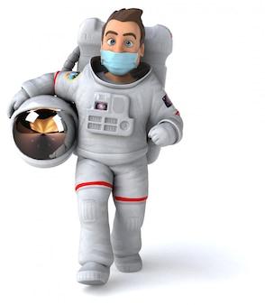 マスクを持つ宇宙飛行士のイラスト