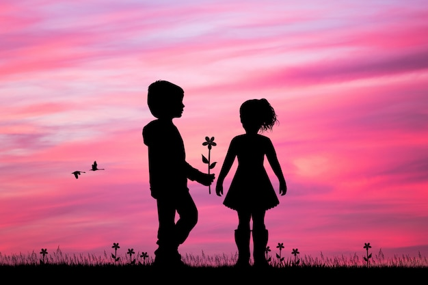 赤ちゃんのイラストは小さな女の子に花を与える