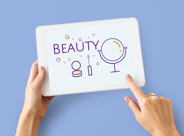 デジタルタブレットの美容化粧品変身スキンケアのイラスト