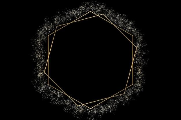 황금 육각형과 검은 색 추상 로고 배경 그림