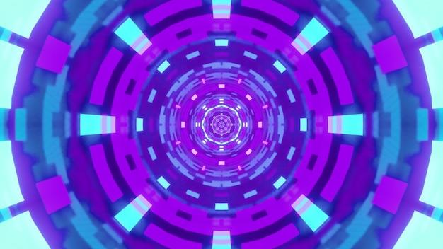Иллюстрация синего и фиолетового абстрактного геометрического орнамента, светящегося неоновым светом внутри круглого футуристического туннеля