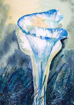 Иллюстрация синий цветок каллы абстрактная акварель