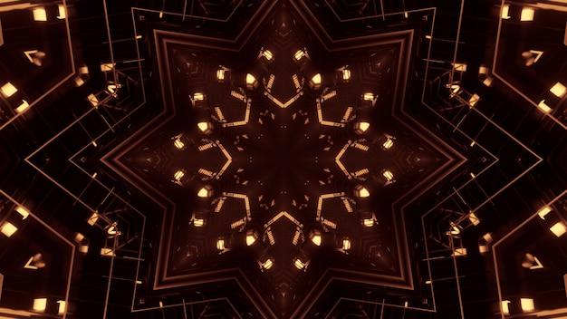 Иллюстрация ярких золотых неоновых огней, сияющих и образующих абстрактный орнамент в форме звезды в темноте
