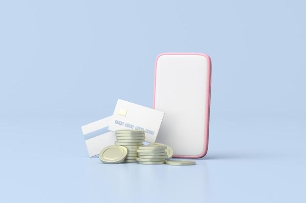 スマートフォンでクレジットカードやコインのイラスト、最小限のスタイル、金融コンセプト、3dレンダリング。