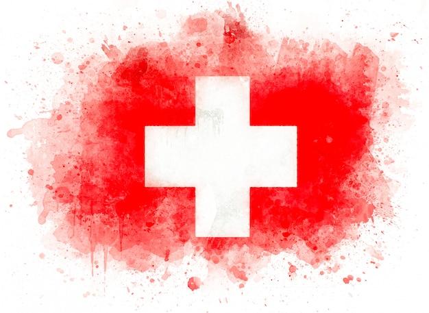 スイス連邦共和国、白い紙に水彩のスイス国旗の旗のイラスト