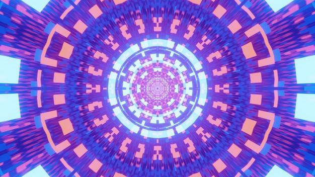 Иллюстрация футуристического туннеля с абстрактным геометрическим орнаментом, светящимся розовыми и синими неоновыми огнями