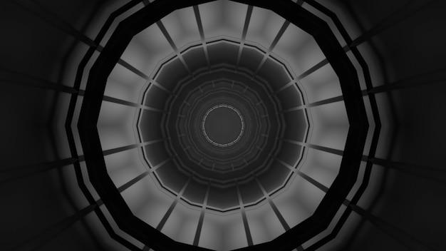 Иллюстрация геометрического монохромного орнамента, образующего абстрактный симметричный темный туннель