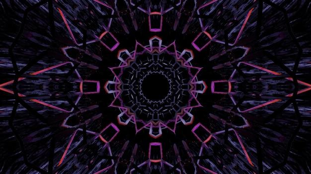カラフルなネオンレーザー光による幾何学的形状のイラスト-背景に最適