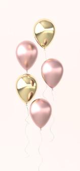 광택 핑크와 황금 풍선의 그림