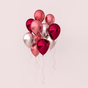パステルカラーの背景に光沢のあるピンクの赤とバラの金色の風船のイラスト