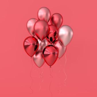 파스텔 컬러 배경에 광택 분홍색, 빨간색과 장미 황금 풍선의 그림
