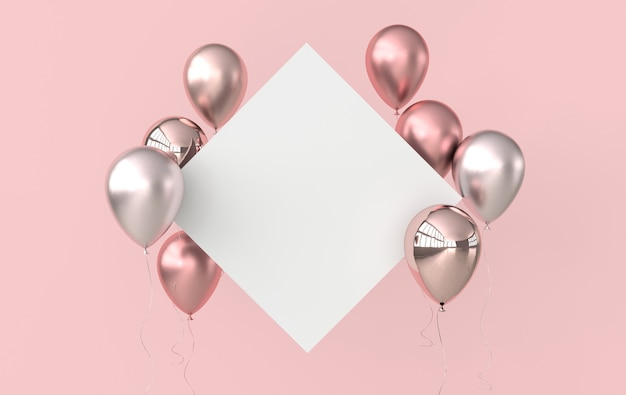 광택 로즈 골드, 핑크 풍선 및 분홍색 백서의 그림.