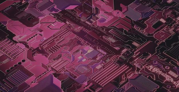 背景としてハイテク電子回路基板のイラスト