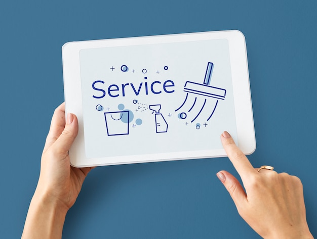 Иллюстрация службы уборки дома на цифровом планшете