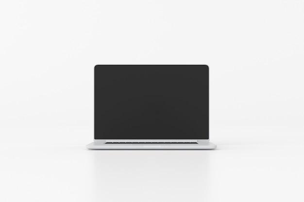 검은 화면 흰색 배경에 고립 된 노트북의 그림. 3d 렌더링.