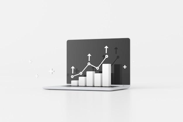 주식 거래 그래프, 성장 전략 차트, 클라우드 컴퓨팅이 있는 노트북의 그림. 3d 렌더링.