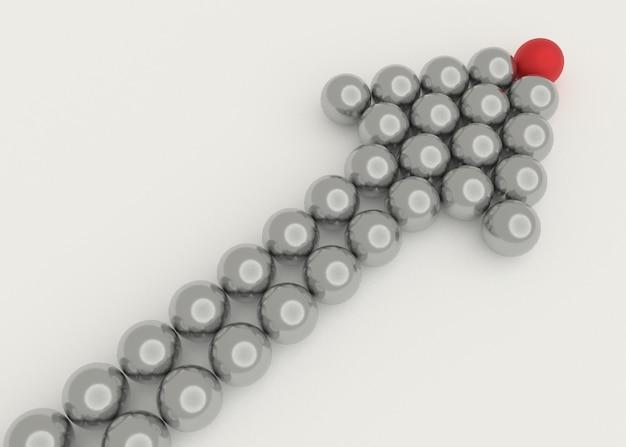 Иллюстрация лидера ведет команду вперед. бизнес-концепции. 3d рендеринг