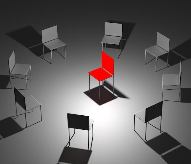 Иллюстрация лидерства в компании. один красный и восемь серых стульев