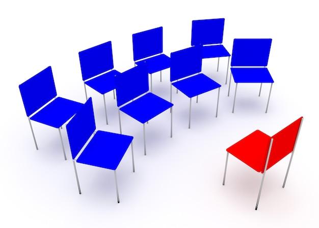 Иллюстрация лидерства в компании. один красный и четыре синих стула.