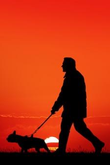 夕暮れ時の犬を持つ男の図