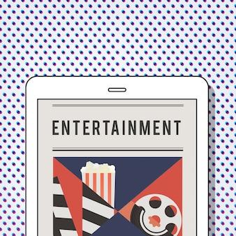 デジタルタブレット上の映画劇場メディアエンターテインメントのイラスト