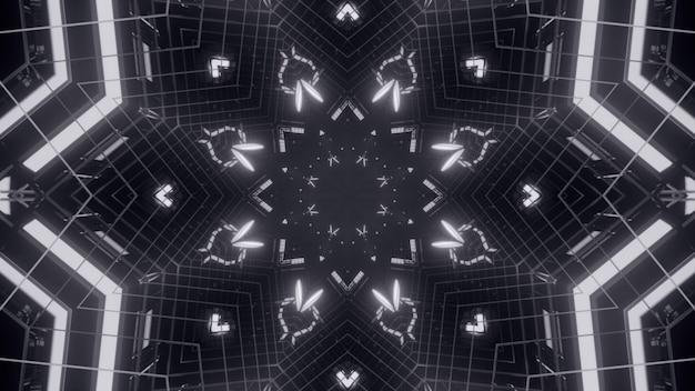 Иллюстрация неоновых линий и огней, сияющих в монохромном абстрактном орнаменте
