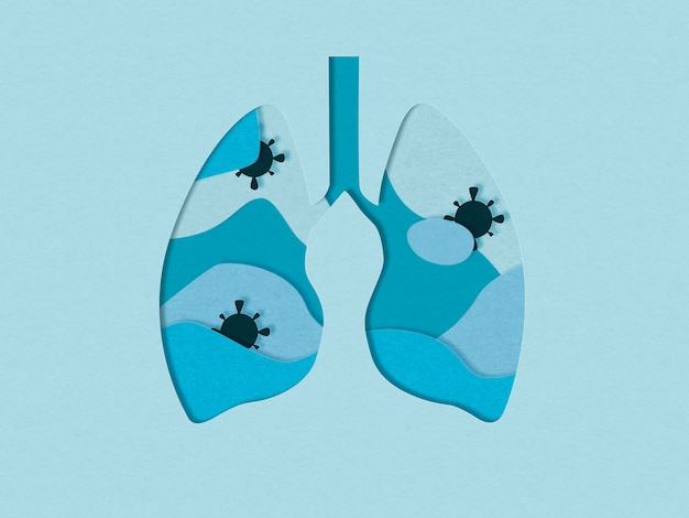 ウイルスと肺の切り傷のイラスト。肺炎の概念。 covid-19コロナウイルスのパンデミック問題