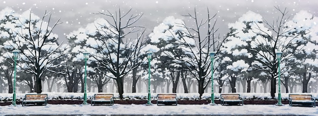 Иллюстрация парка с зимним днем и падающим снегом.