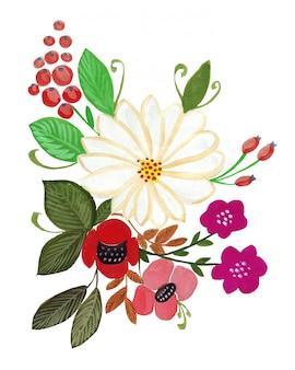 Иллюстрация карандашного рисунка букет цветов в яркие цвета