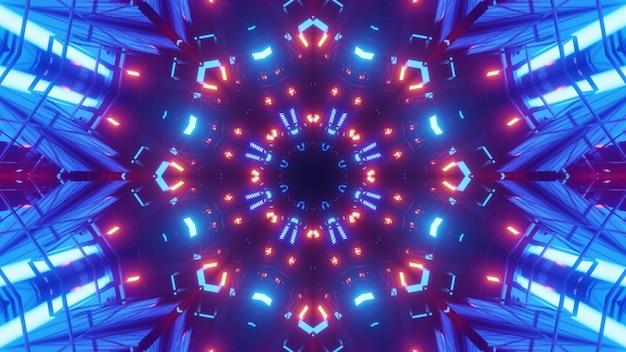 Иллюстрация красных и синих неоновых огней, освещающих симметричный туннель с абстрактным орнаментом
