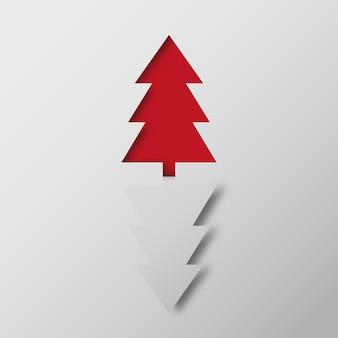 Иллюстрация красных и белых рождественских елок на сером фоне