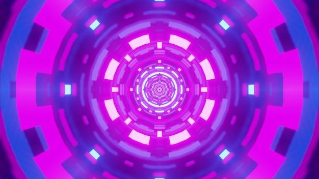 Иллюстрация круглого симметричного туннеля с абстрактным геометрическим орнаментом, переливающимся ярким фиолетовым неоновым светом