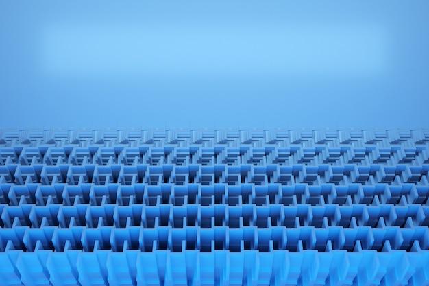 青い立方体とストライプの平行四辺形パターンの行の図