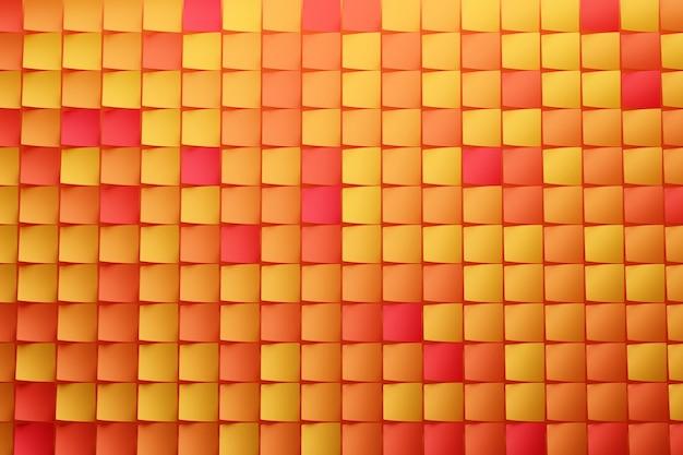 빨간색 노란색과 주황색 큐브 행의 그림