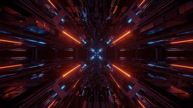 一点に流れる複数のライトが隣り合っているイラスト