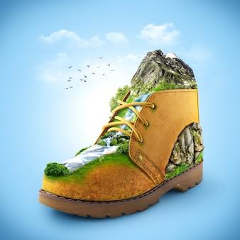 山と川のある靴のイラスト