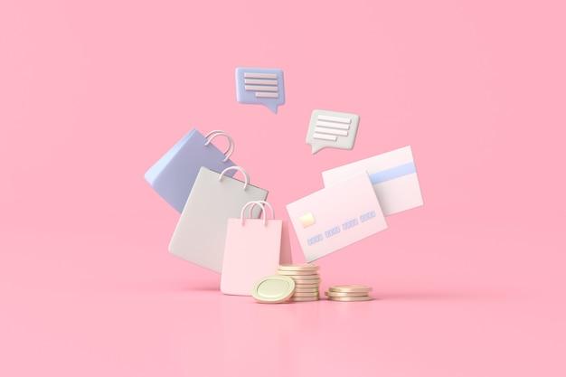 Иллюстрация хозяйственной сумки с кредитными картами и золотыми монетами, минимальный стиль, 3d-рендеринг.