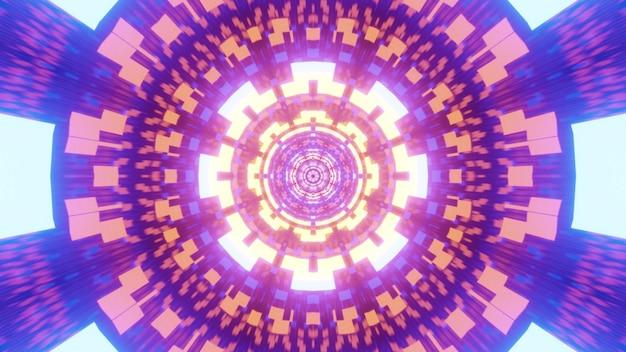 Иллюстрация симметричного абстрактного орнамента, светящегося красочными неоновыми огнями внутри круглого футуристического коридора