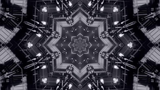 Иллюстрация симметричного монохромного туннеля с отражающими стенами и абстрактным орнаментом