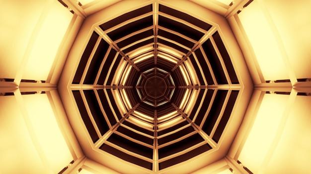 Иллюстрация симметричного туннеля в форме восьмиугольника, освещенного ярко-желтым неоновым светом