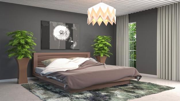 Иллюстрация интерьера спальни