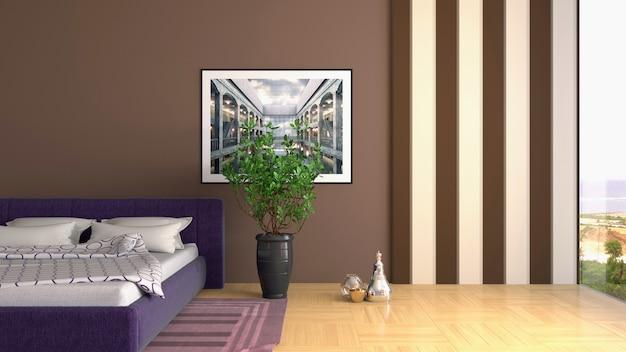 寝室のインテリアのイラスト