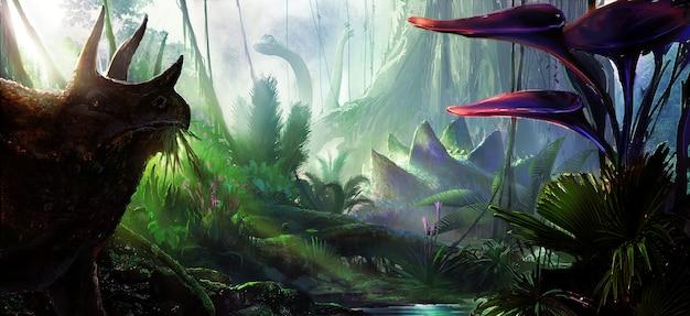 Иллюстрация концепции динозавров.