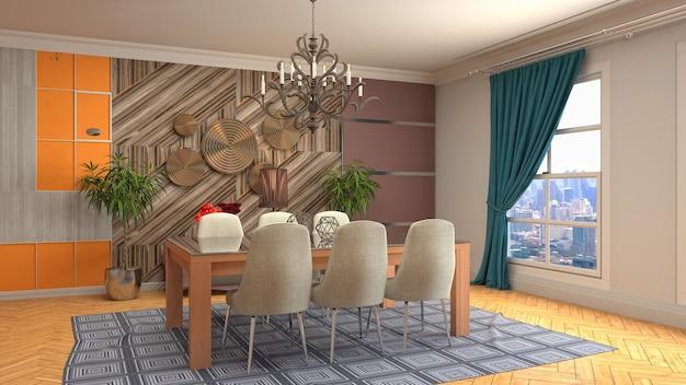 Иллюстрация интерьера столовой