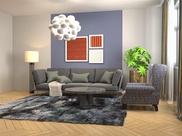 居間のインテリアのイラスト