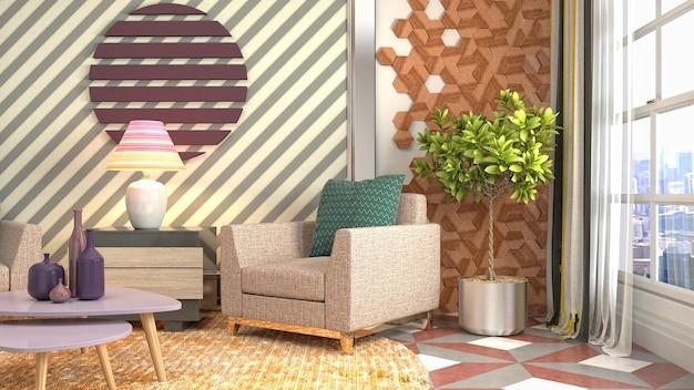 Иллюстрация интерьера гостиной