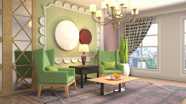 Иллюстрация интерьера гостиной Premium Фотографии