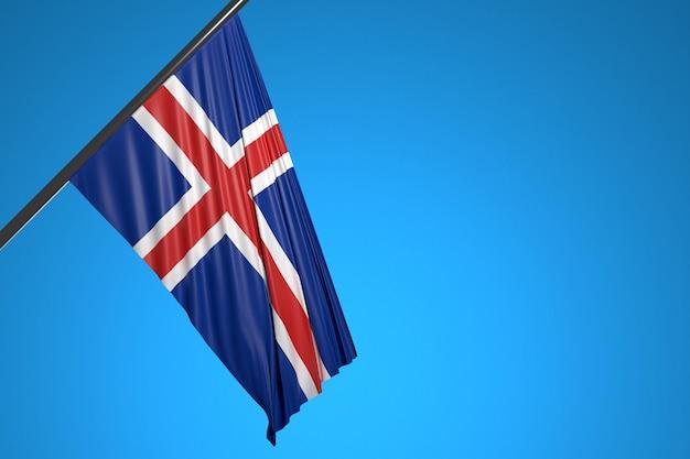 青い空に羽ばたく金属の旗竿にアイルランドの国旗のイラスト