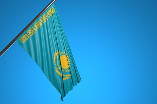Иллюстрация государственного флага казахстана на металлическом флагштоке на фоне голубого неба